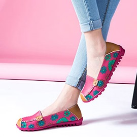 Ericdress Slip-On Square Toe Print Color Block Thin Shoes