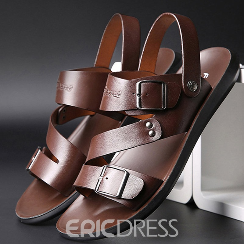 Ericdress Flat Heel Plain Buckle Open Toe Sandals