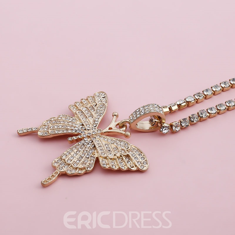 Ericdress Pendant Necklace Diamante Female Necklaces
