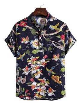 Ericdress Casual Print Floral Summer Single-Breasted Shirt