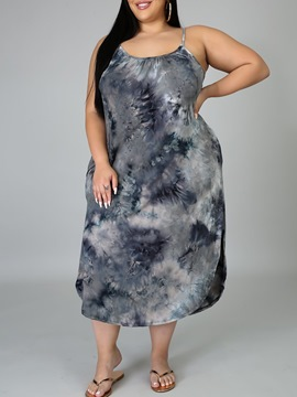 Ericdress Split Sleeveless Mid-Calf Plus Size High Waist Dress