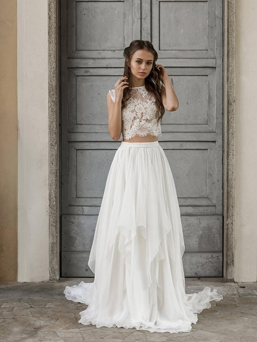 Ericdress Floor-Length Court A-Line Sleeveless Beach Wedding Dress