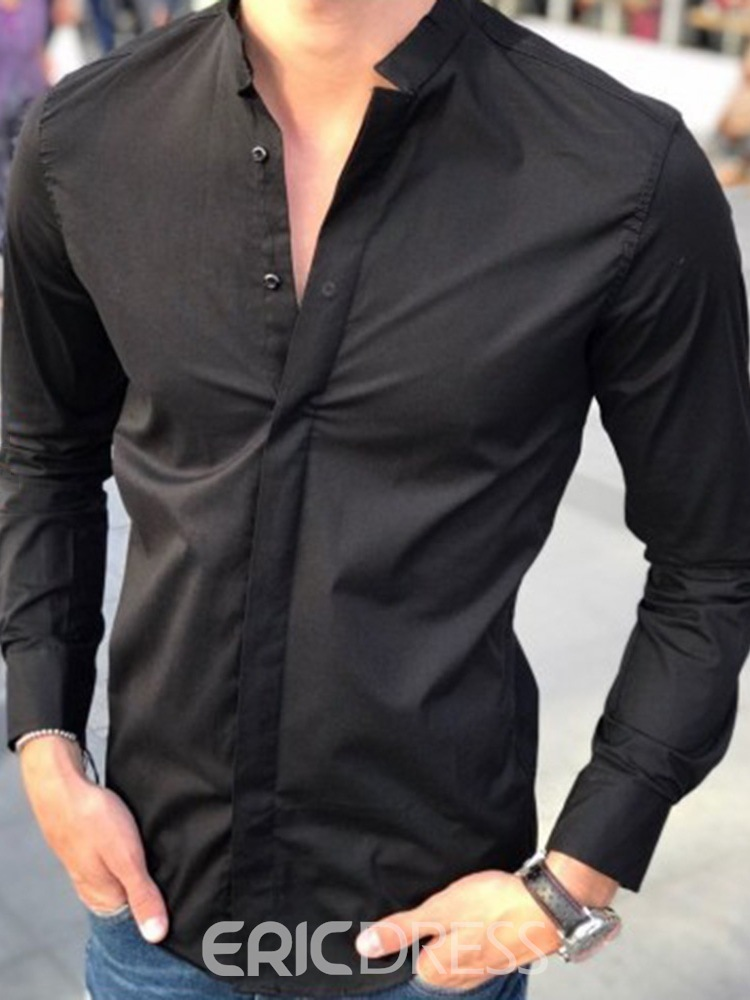 Ericdress Stand Collar Formal Plain Single-Breasted Spring Shirt