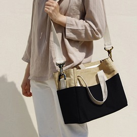 Ericdress Patchwork Canvas Rectangle Tote Bags