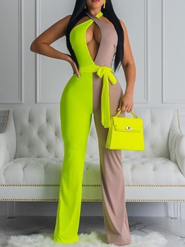 Ericdress Full Length Color Block Casual Mid Waist Slim Jumpsuit