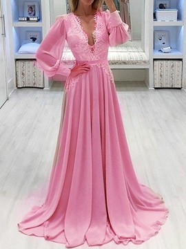 Ericdress Long Sleeve Lace Floor-Length Mid Waist Floral Dress