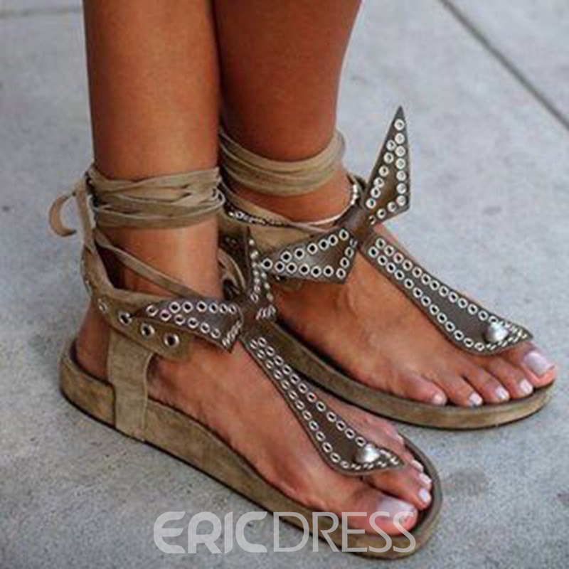 Ericdress Flat With Thong Lace-Up Casual Sandals