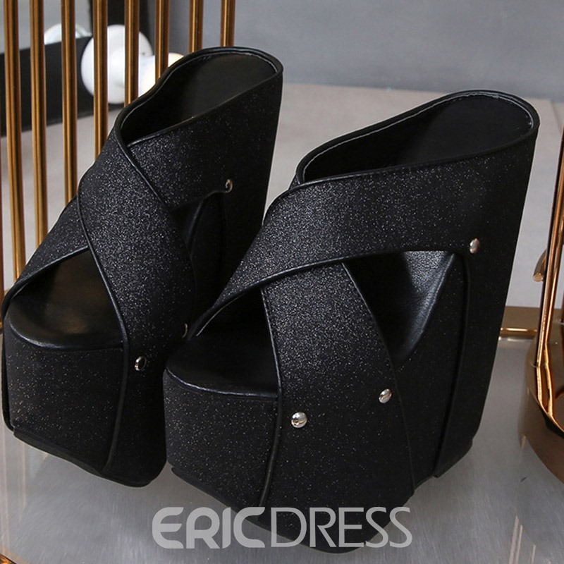 ericdress Keilabsatz Kreuz Slip-On Compound Hausschuhe