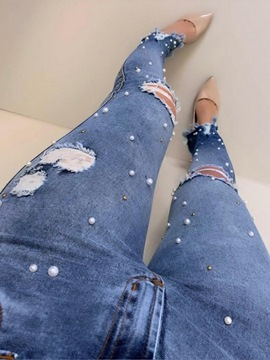 Ericdress Plain Pencil Pants Bead Slim High Waist Jeans