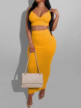 Ericdress Split Vest Plain Bodycon Pullover Two Piece Sets