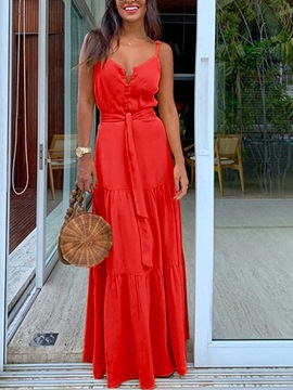 Ericdress Stand Collar Sleeveless Floor-Length Single-Breasted A-Line Maxi Dress