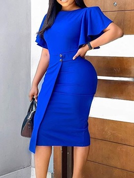 Ericdress Blue Dress Mid-Calf Round Neck Short Sleeve Pullover Flare Sleeve Dress
