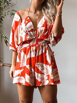 Ericdress Backless Shorts Sexy Wide Legs Loose Jumpsuit