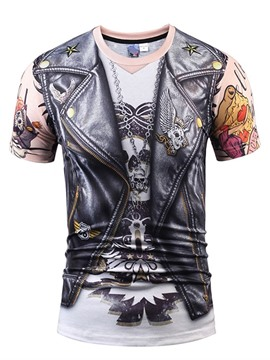 Ericdress Print Skull Round Neck Slim Short Sleeve T-shirt