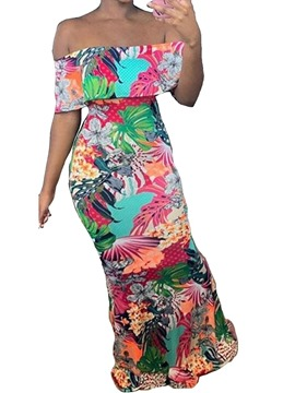Ericdress Off Shoulder Print Floor-Length High Waist Mermaid Dress