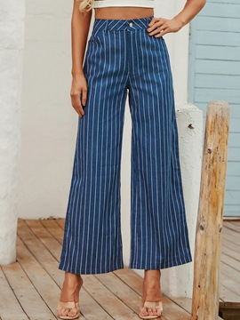 Ericdress Pocket Stripe Loose Full Length Mid Waist Casual Pants