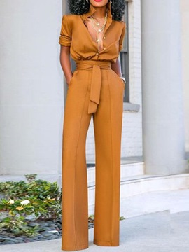 Ericdress Patchwork Fashion Full Length Loose High Waist Jumpsuit