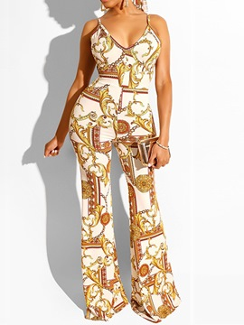 Ericdress Print Sexy Full Length Slim Mid Waist Jumpsuit