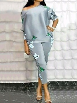 Ericdress Print Western Floral Pullover Pencil Pants Two Piece Sets