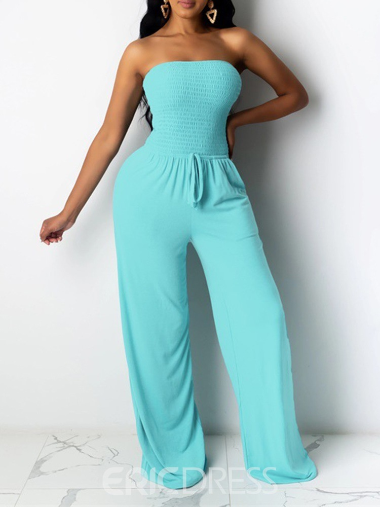 Ericdress Sexy Backless Plain Mid Waist Loose Jumpsuit