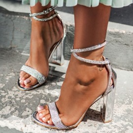 Ericdress Round Toe Chunky Heel Buckle Low-Cut Upper Sandals