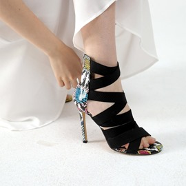 Ericdress Heel Covering Zipper Round Toe Serpentine Sandals