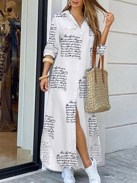 Ericdress Lapel Print Long Sleeve Regular Mid Waist Dress