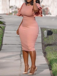 Ericdress Plus Size Round Neck Ruffle Sleeve Single Bodycon Dress фото