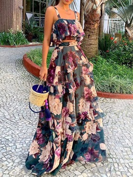 Ericdress Vest Print Floral Pullover Two Piece Sets