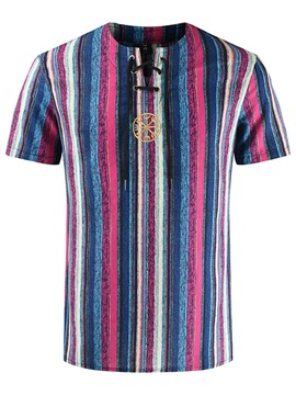 ericdress pull à rayures col rond à lacets t-shirt slim