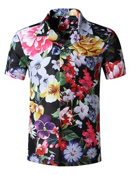 Ericdress Floral Lapel Print Single-Breasted Slim T-shirt