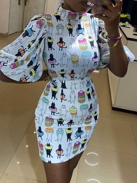 Ericdress Print T-Shirt Cartoon Stand Collar Bodycon Two Piece Sets