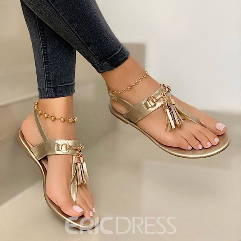 Ericdress Thong Buckle Flat With Sweet Sandals