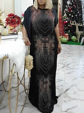 Ericdress Floor-Length Rhinestone Half Sleeve A-Line Geometric Dress