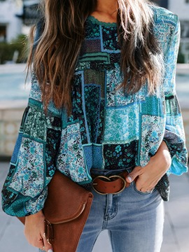 ericdress floral lantern sleeve blouse col rond manches longues standard