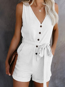 Ericdress Shorts Lace-Up Casual Slim Jumpsuit