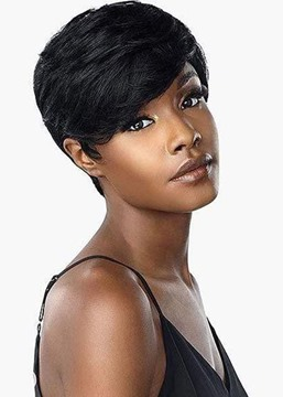 Ericdress Women's Short Pixie Boy Cut Hairstyle Natural Straight Human Hair Lace Front Wigs 6Inch