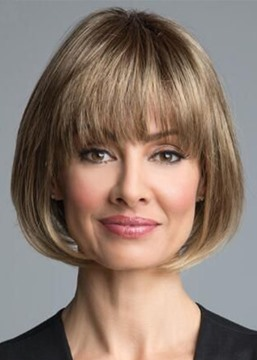 Ericdress Natural Looking Women's Short Bob Hairstyle Straight Synthetic Hair Capless Wigs With Bangs 10Inch