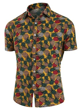 Ericdress Print Lapel Single-Breasted Men's Slim Shirt