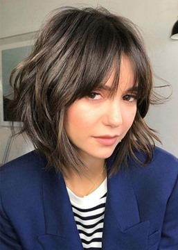 Ericdress Short Layered Hairstyles Women's Wavy Synthetic Hair Capless Wigs With Bangs 12Inch