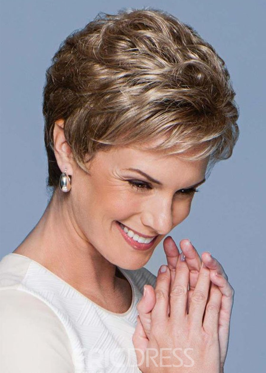 Ericdress Short Pixie Boy Cut Hairstyle Women's Natural Straight Human Hair Lace Front Wigs 6Inch