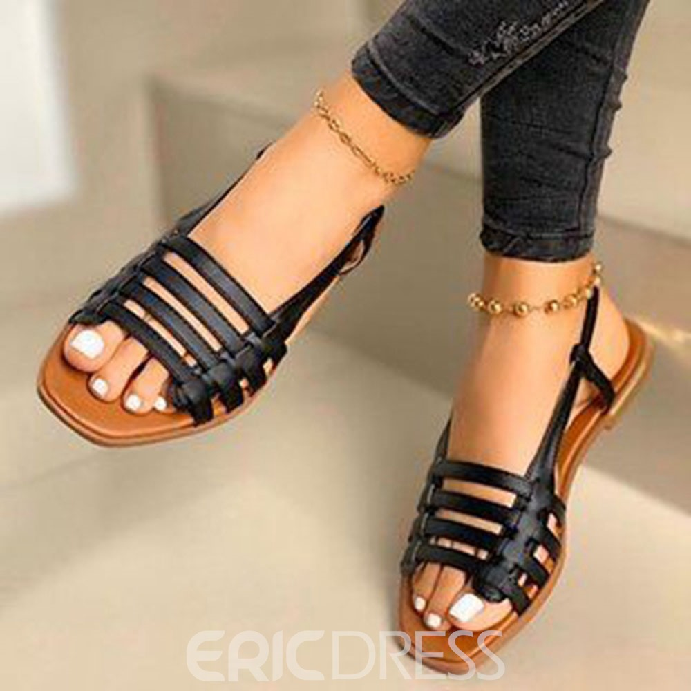 Ericdress Open Toe Flat With Slip-On Casual Sandals