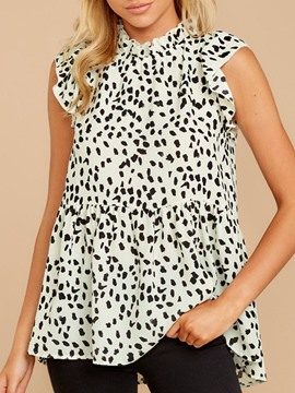 Ericdress Ruffle Sleeve Print Leopard Short Sleeve Mid-Length Blouse