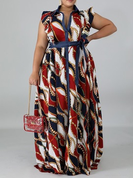 Ericdress Print Lapel Floor-Length A-Line Plus Size Dress