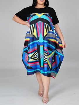 Ericdress Plus Size Print Mid-Calf Short Sleeve Regular Office Lady Dress