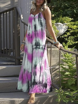 Ericdress Ankle-Length Tie-Dye Sleeveless Spaghetti Strap High Waist Dress
