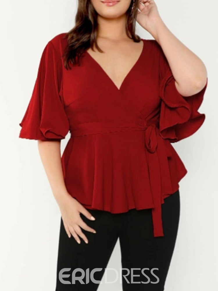 Ericdress V-Neck Plain Three-Quarter Sleeve Plus Size Slim T-Shirt