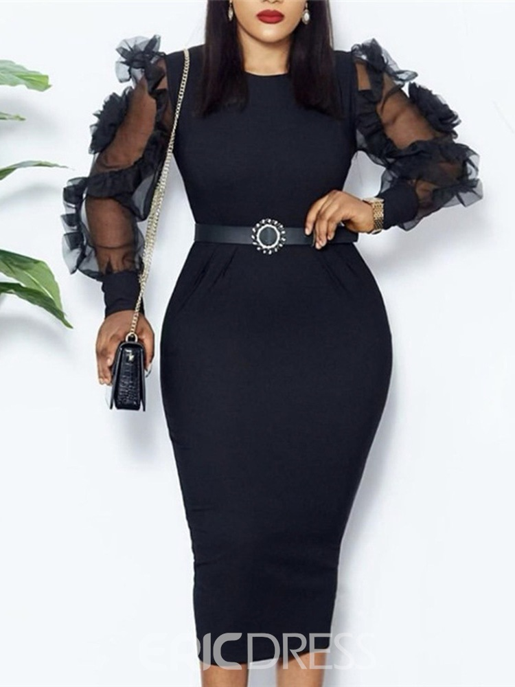 Ericdress Mid-Calf Round Neck Long Sleeve Western Pullover Dress