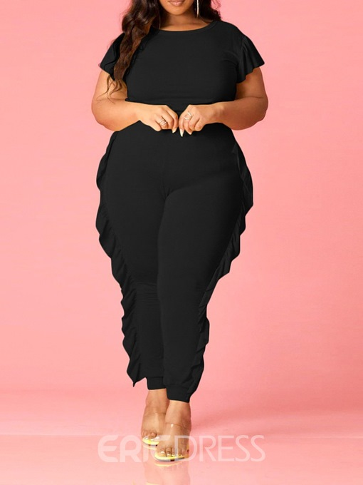 Ericdress Plus Size T-Shirt Falbala Casual Pullover Pencil Pants Two Piece Sets