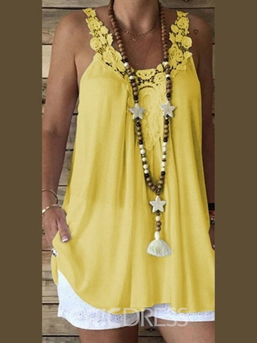 Ericdress Spaghetti Straps Polyester Hollow Mid-Length Tank Top